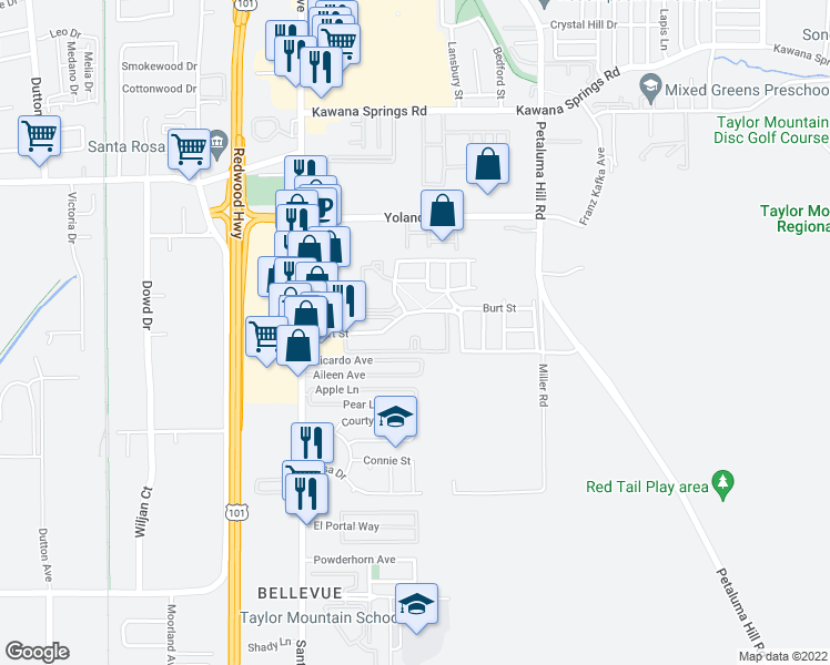 map of restaurants, bars, coffee shops, grocery stores, and more near 240 Burt Street in Santa Rosa