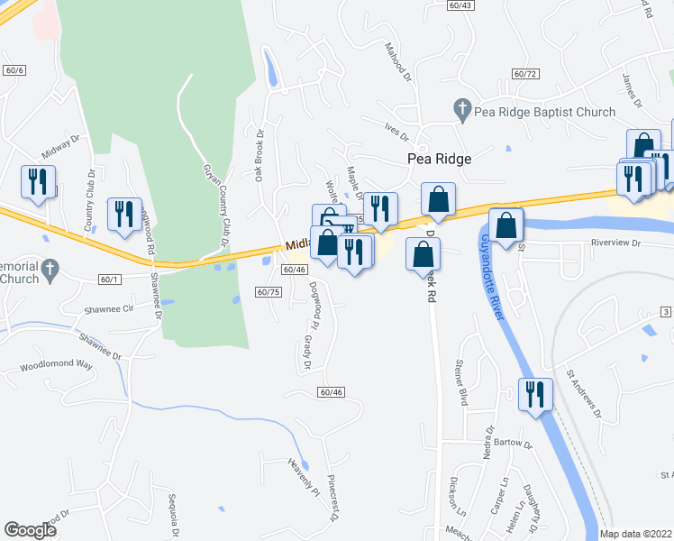 map of restaurants, bars, coffee shops, grocery stores, and more near 5636 U.S. 60 in Huntington
