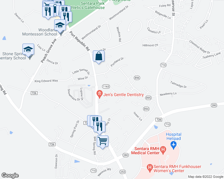 map of restaurants, bars, coffee shops, grocery stores, and more near 1091 Rosedale Drive in Harrisonburg