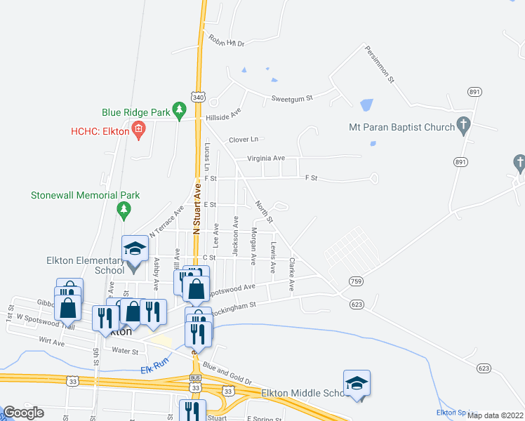 map of restaurants, bars, coffee shops, grocery stores, and more near 161 North Street in Elkton