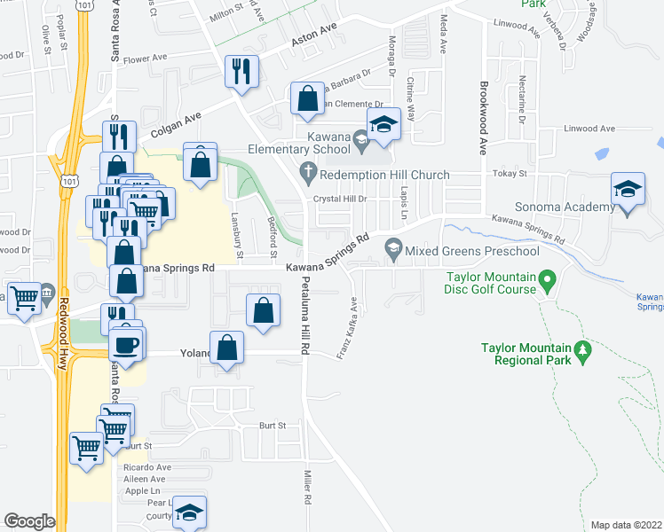 map of restaurants, bars, coffee shops, grocery stores, and more near 1020 Kawana Springs Road in Santa Rosa