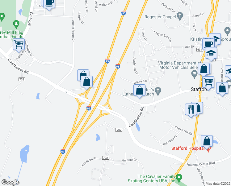map of restaurants, bars, coffee shops, grocery stores, and more near Courthouse Road in Stafford