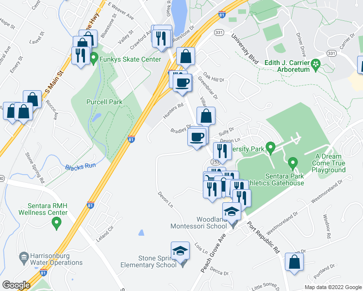 map of restaurants, bars, coffee shops, grocery stores, and more near 1374 Bradley Drive in Harrisonburg