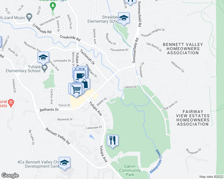 map of restaurants, bars, coffee shops, grocery stores, and more near 2900 St Paul Dr in Santa Rosa