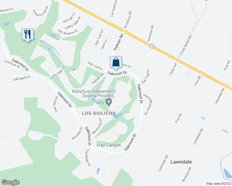 map of restaurants, bars, coffee shops, grocery stores, and more near 325 Twin Lakes Drive in Santa Rosa