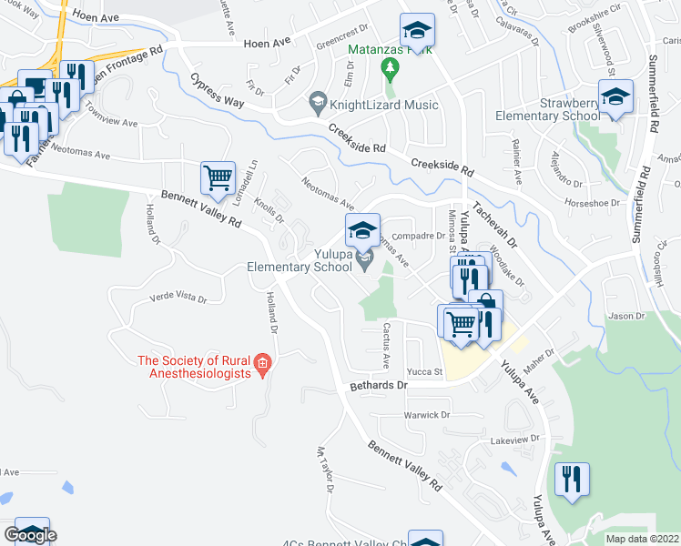 map of restaurants, bars, coffee shops, grocery stores, and more near 2228 Mesquite Drive in Santa Rosa