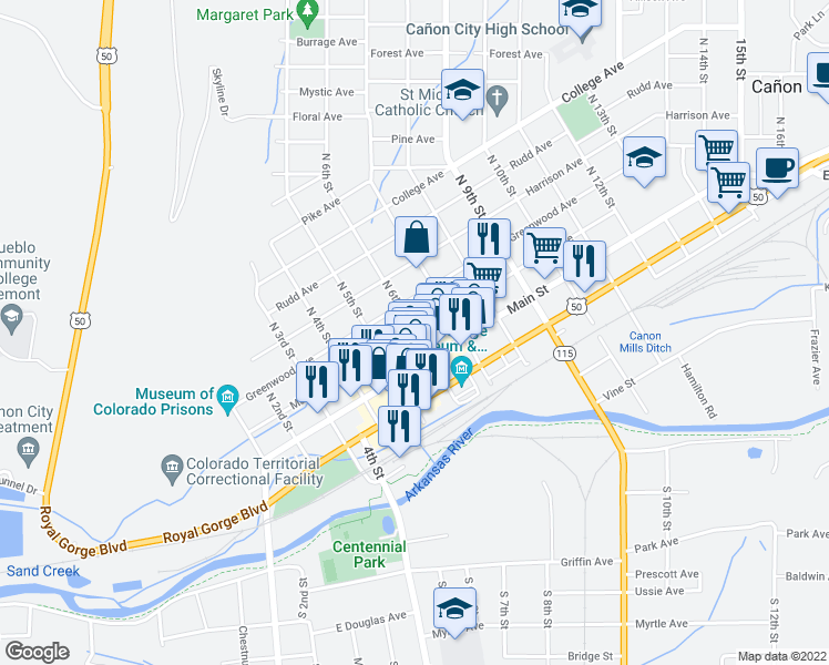 map of restaurants, bars, coffee shops, grocery stores, and more near 602 Macon Avenue in Cañon City
