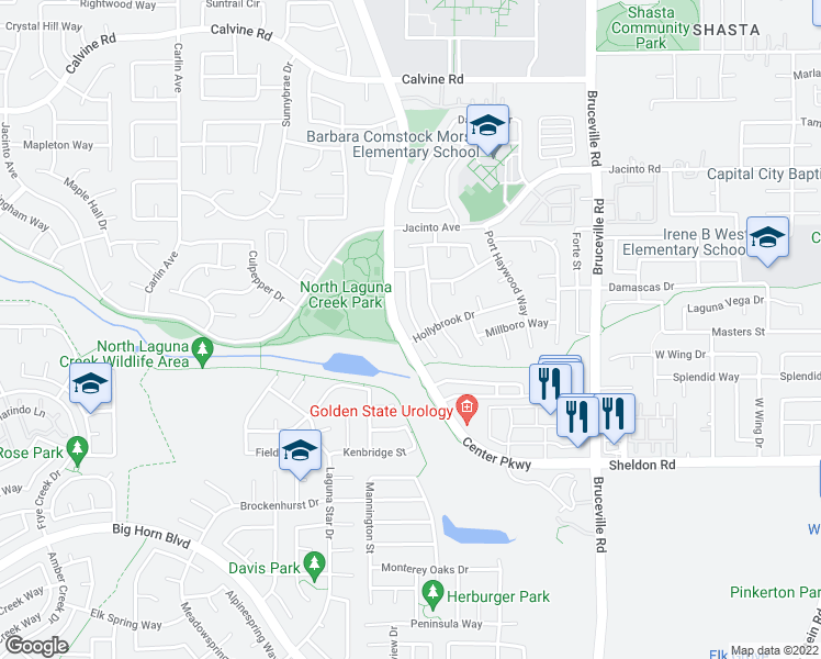 map of restaurants, bars, coffee shops, grocery stores, and more near 8694 Bluefield Way in Sacramento