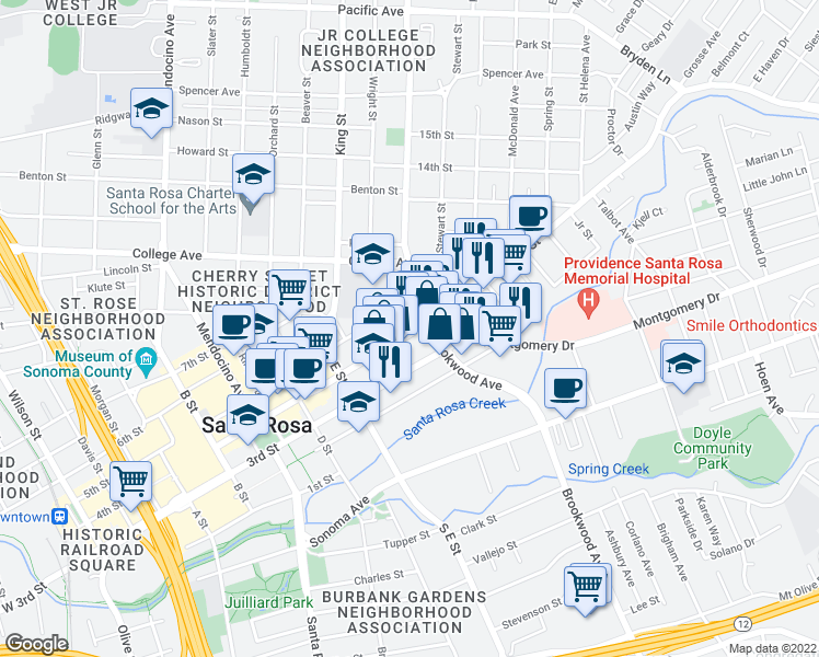 map of restaurants, bars, coffee shops, grocery stores, and more near 901 4th Street in Santa Rosa