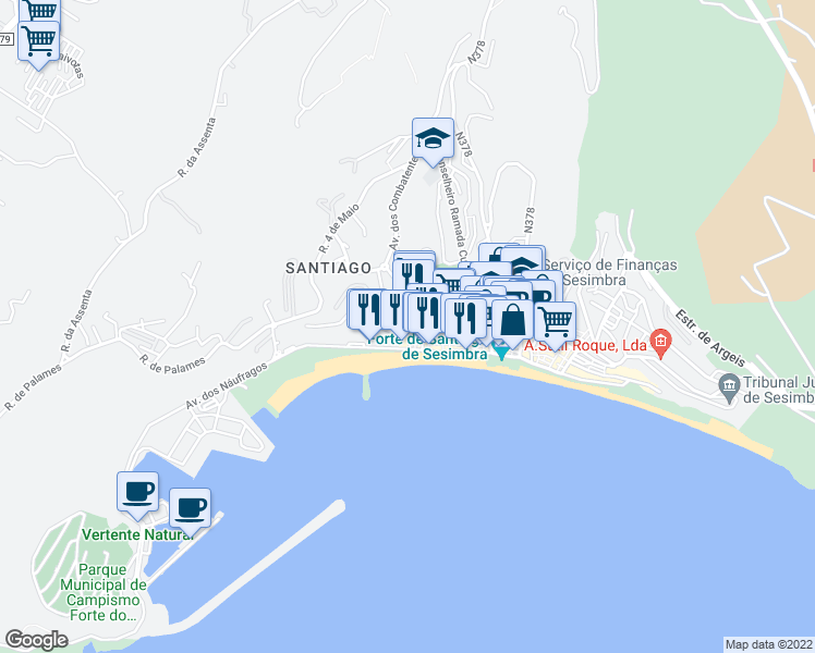 map of restaurants, bars, coffee shops, grocery stores, and more near in Sesimbra