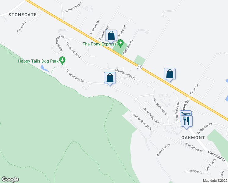 map of restaurants, bars, coffee shops, grocery stores, and more near 6430 Stone Bridge Road in Santa Rosa