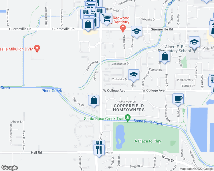 map of restaurants, bars, coffee shops, grocery stores, and more near 2473 College Park Circle in Santa Rosa