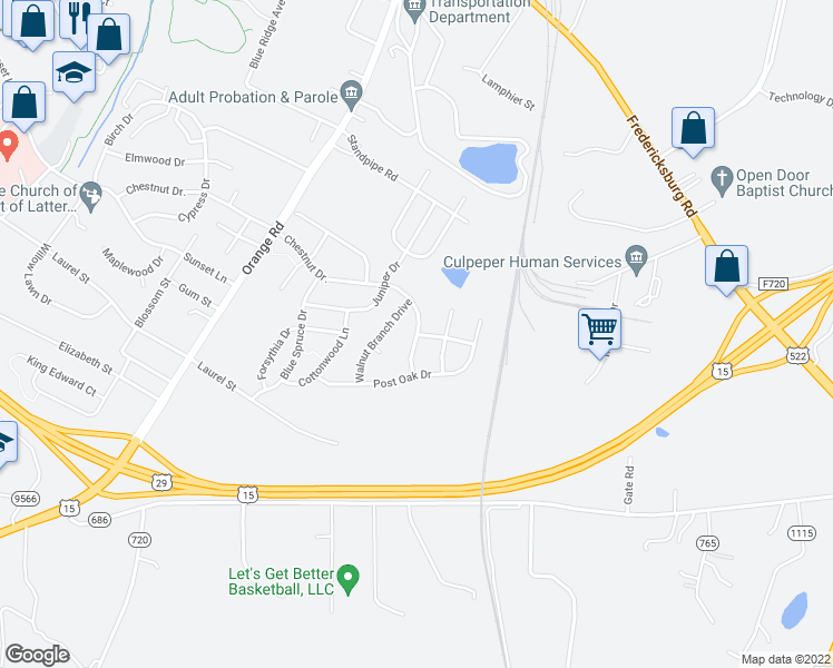 map of restaurants, bars, coffee shops, grocery stores, and more near 2205 Chestnut Drive in Culpeper