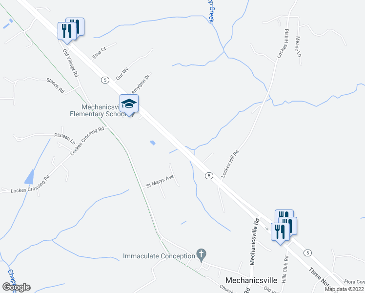 map of restaurants, bars, coffee shops, grocery stores, and more near 28507 Three Notch Road in Mechanicsville