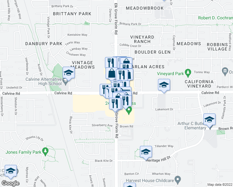 map of restaurants, bars, coffee shops, grocery stores, and more near Calvine Road & Elk Grove Florin Road in Elk Grove
