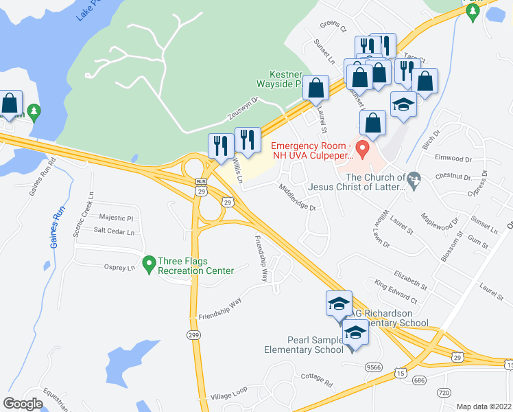 map of restaurants, bars, coffee shops, grocery stores, and more near 722 Willis Lane in Culpeper