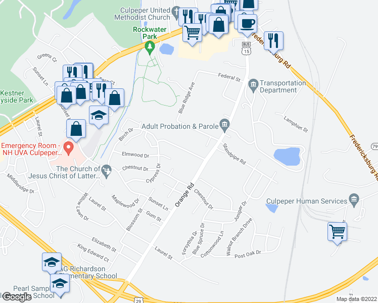 map of restaurants, bars, coffee shops, grocery stores, and more near 165 Aberdeen Drive in Culpeper