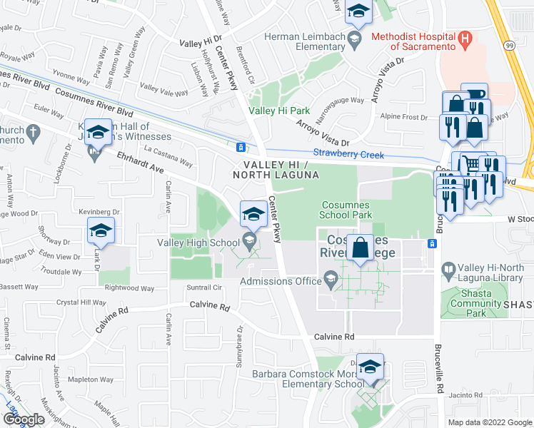 map of restaurants, bars, coffee shops, grocery stores, and more near 46 Sunny Hollow Court in Sacramento