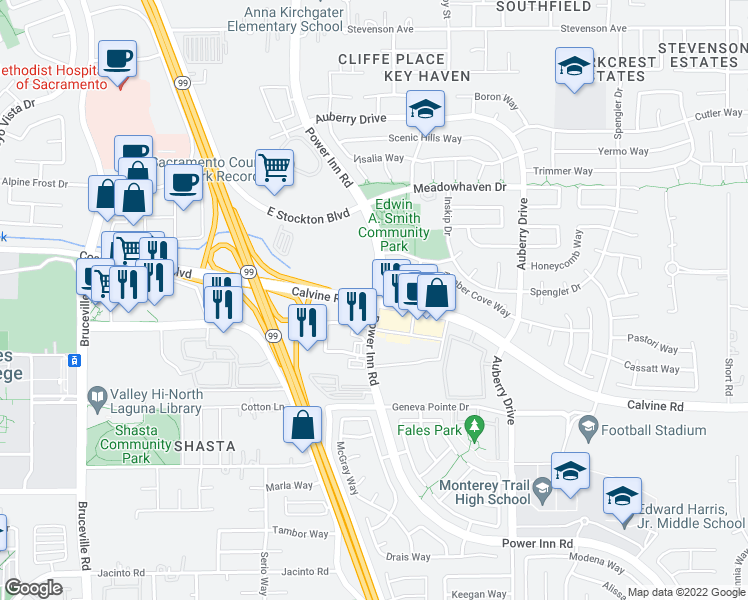 map of restaurants, bars, coffee shops, grocery stores, and more near Power Inn Road & Calvine Road in Sacramento