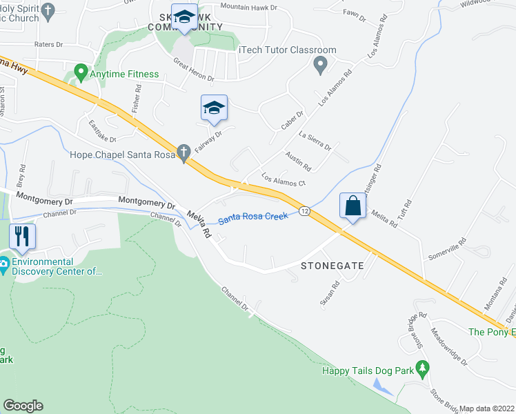 map of restaurants, bars, coffee shops, grocery stores, and more near 336 Los Alamos Road in Santa Rosa