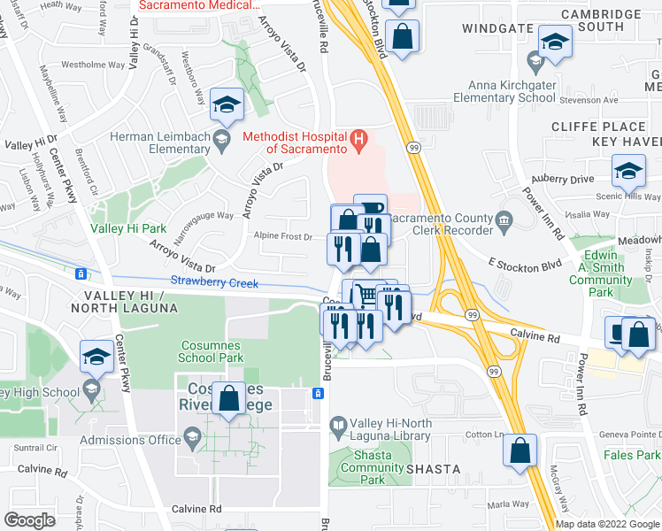 map of restaurants, bars, coffee shops, grocery stores, and more near 8274-8298 Bruceville Road in Sacramento