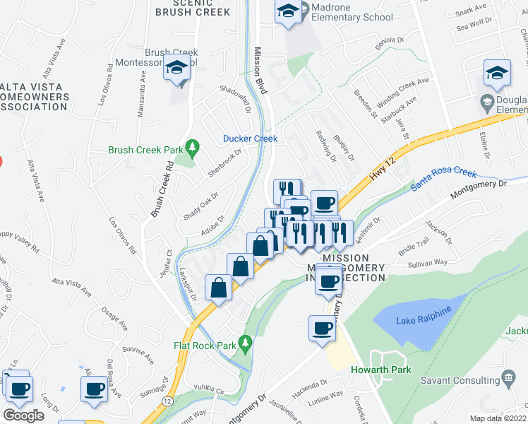 map of restaurants, bars, coffee shops, grocery stores, and more near 701 Mission Boulevard in Santa Rosa