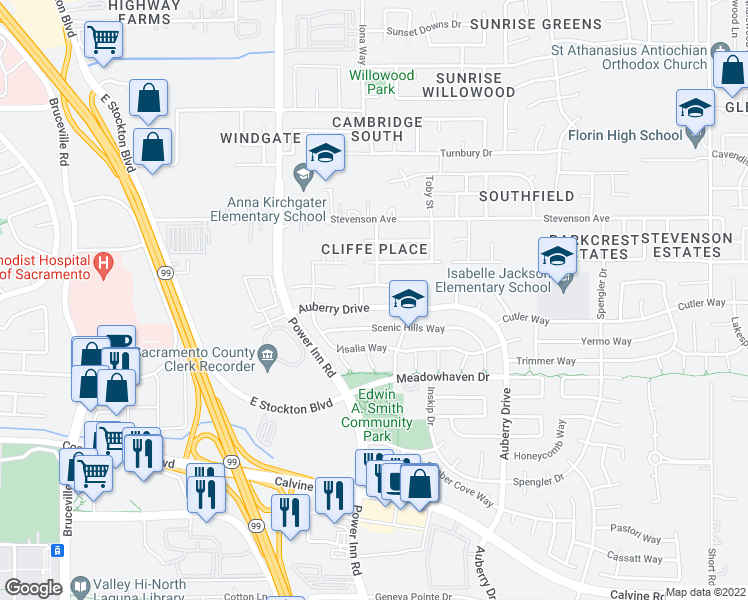 map of restaurants, bars, coffee shops, grocery stores, and more near 8173 Auberry Drive in Sacramento