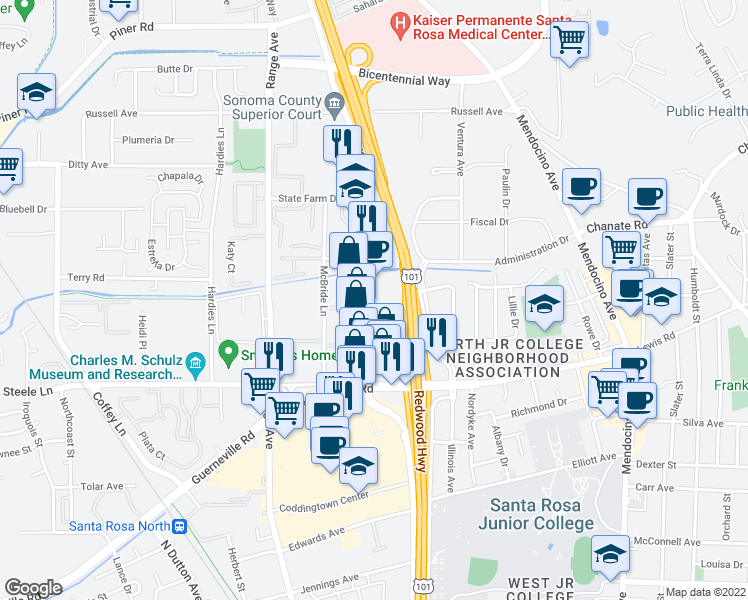 map of restaurants, bars, coffee shops, grocery stores, and more near 2544 Cleveland Avenue in Santa Rosa