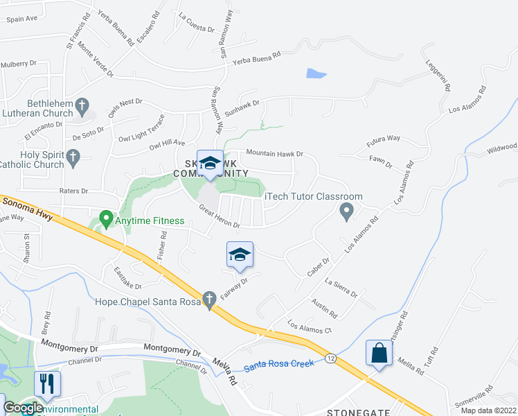 map of restaurants, bars, coffee shops, grocery stores, and more near 1439 Nighthawk Place in Santa Rosa