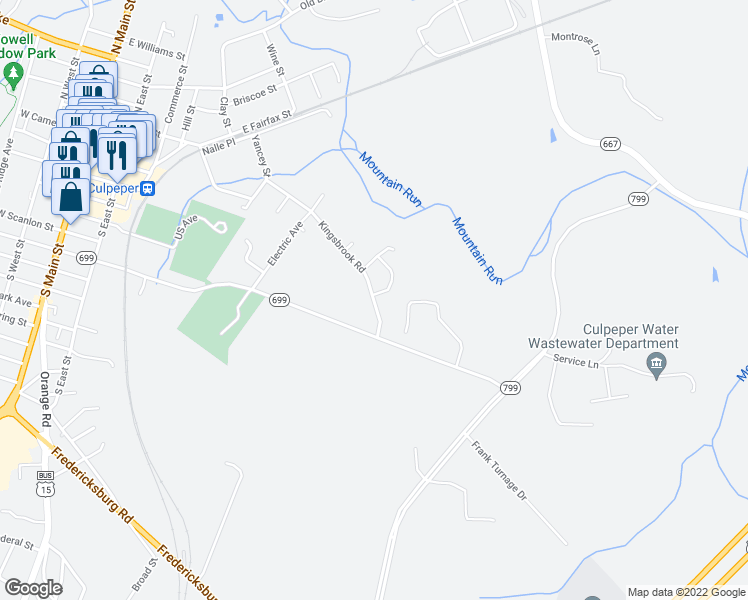 map of restaurants, bars, coffee shops, grocery stores, and more near 812 Kingsbrook Road in Culpeper