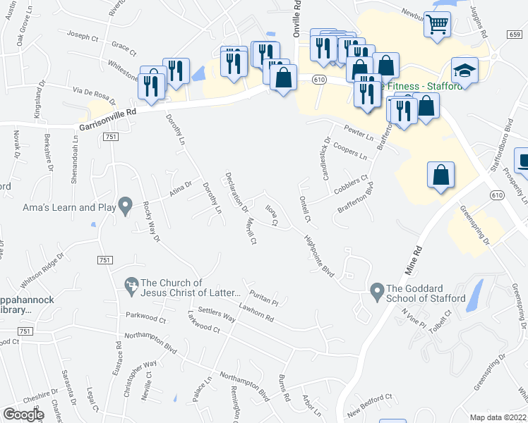 map of restaurants, bars, coffee shops, grocery stores, and more near 201 Ilona Court in Stafford