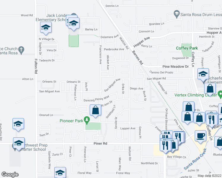 map of restaurants, bars, coffee shops, grocery stores, and more near 2254 San Miguel Avenue in Santa Rosa