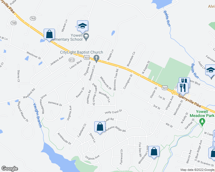 map of restaurants, bars, coffee shops, grocery stores, and more near 258 Whitworth Drive in Culpeper