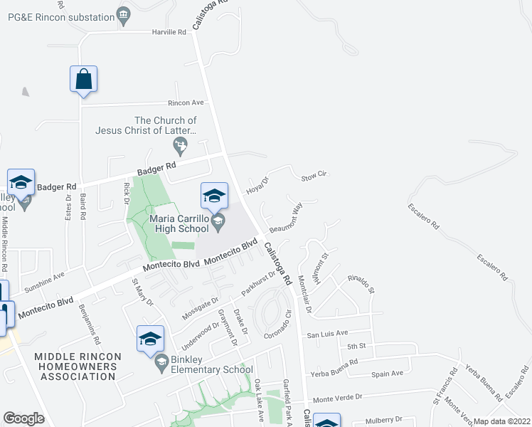 map of restaurants, bars, coffee shops, grocery stores, and more near 832 Montrose Court in Santa Rosa