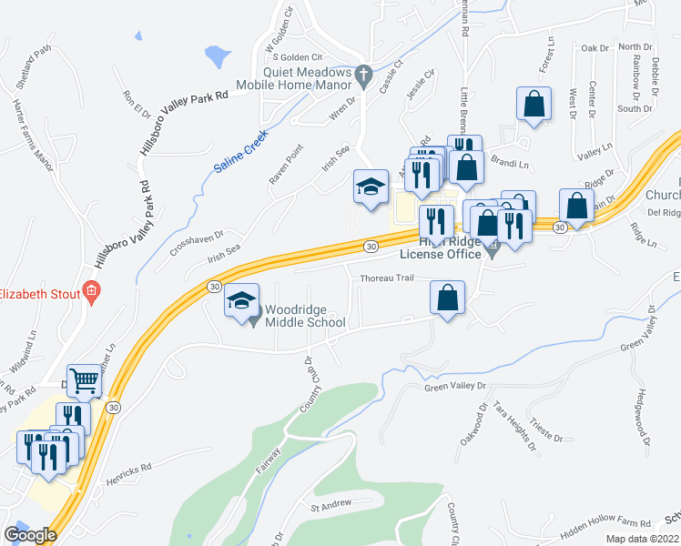 map of restaurants, bars, coffee shops, grocery stores, and more near 1911 Walden Lane in High Ridge