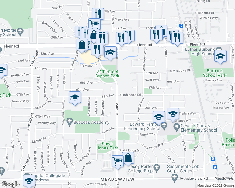 map of restaurants, bars, coffee shops, grocery stores, and more near 7404 24th Street in Sacramento
