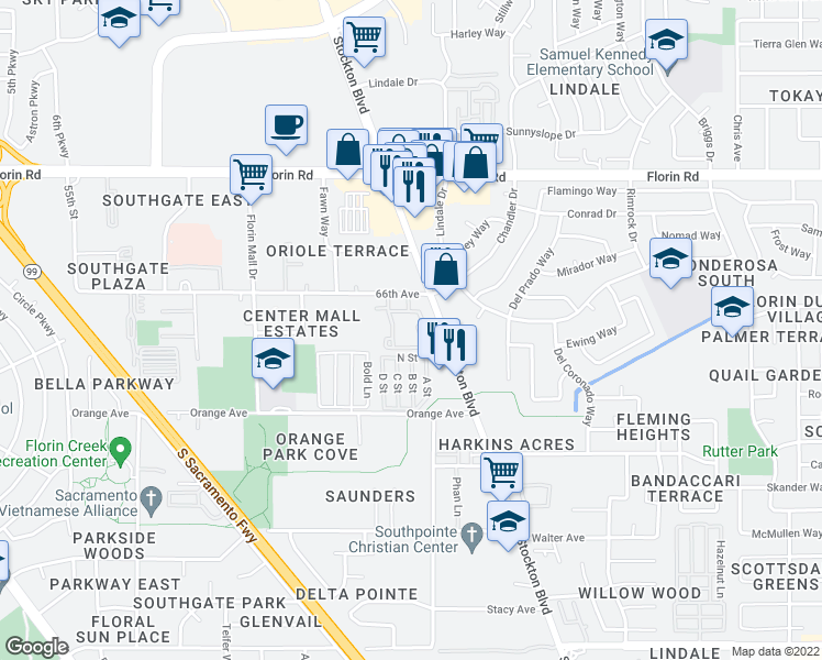 map of restaurants, bars, coffee shops, grocery stores, and more near 7326 Stockton Boulevard in Sacramento