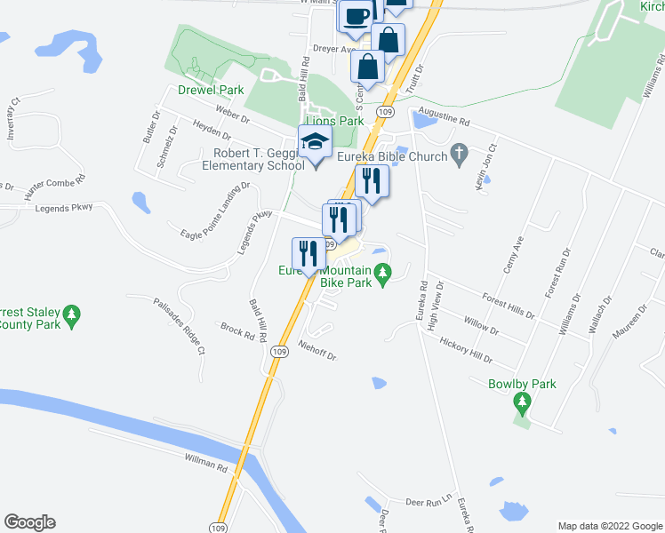 map of restaurants, bars, coffee shops, grocery stores, and more near 4835 Highway 109 in Eureka