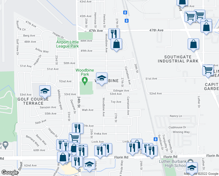 map of restaurants, bars, coffee shops, grocery stores, and more near 2611 Edinger Avenue in Sacramento