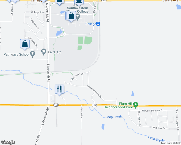 map of restaurants, bars, coffee shops, grocery stores, and more near 2763 Brookrun Drive in Belleville
