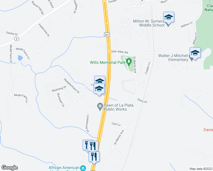 map of restaurants, bars, coffee shops, grocery stores, and more near Crain Highway in La Plata
