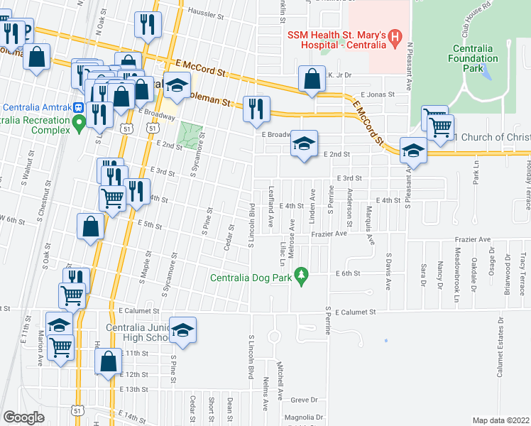 map of restaurants, bars, coffee shops, grocery stores, and more near 406 Leafland Avenue in Centralia