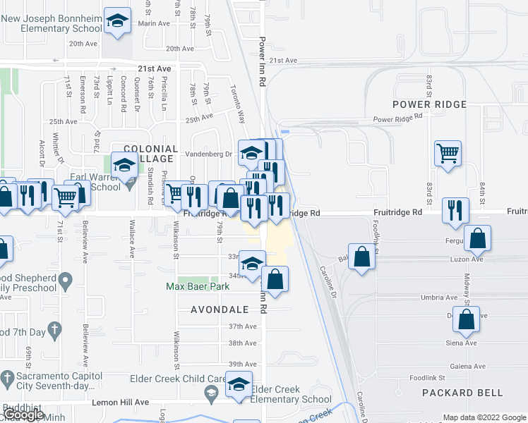 map of restaurants, bars, coffee shops, grocery stores, and more near 5665 Power Inn Road in Sacramento