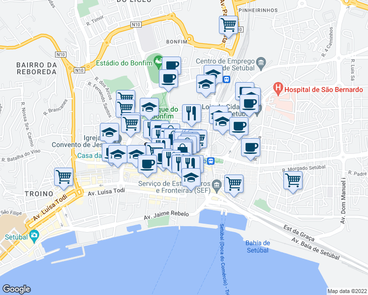 map of restaurants, bars, coffee shops, grocery stores, and more near 10 Rua Capitão Tenente Carvalho Araújo in Setubal