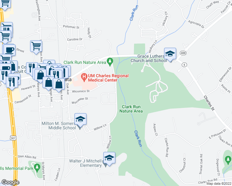 map of restaurants, bars, coffee shops, grocery stores, and more near Willow Lane in La Plata