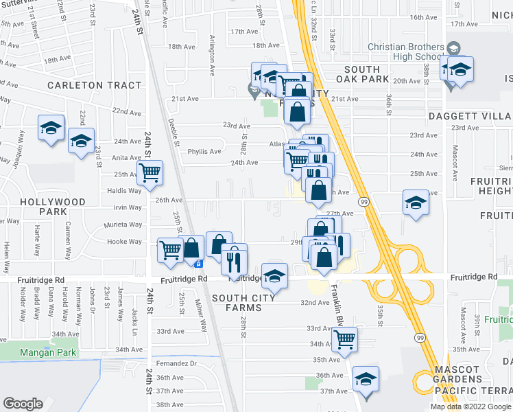 map of restaurants, bars, coffee shops, grocery stores, and more near 2870 26th Avenue in Sacramento
