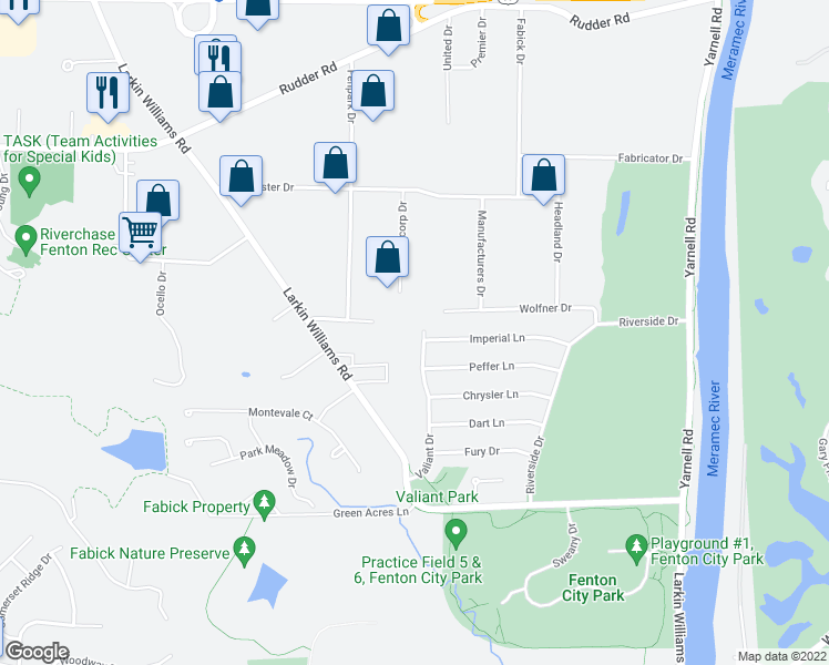 map of restaurants, bars, coffee shops, grocery stores, and more near 1420 Valiant Drive in Fenton