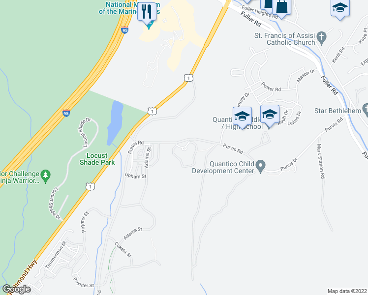 map of restaurants, bars, coffee shops, grocery stores, and more near Perkins Street in Quantico
