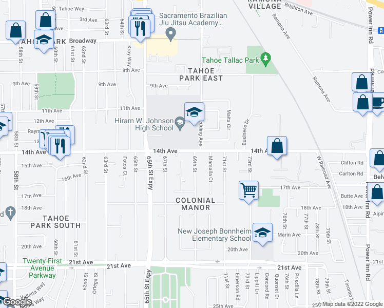 map of restaurants, bars, coffee shops, grocery stores, and more near 3900 69th Street in Sacramento