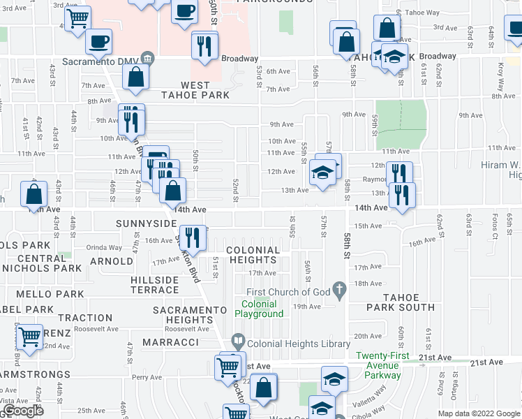 map of restaurants, bars, coffee shops, grocery stores, and more near 5252 14th Avenue in Sacramento